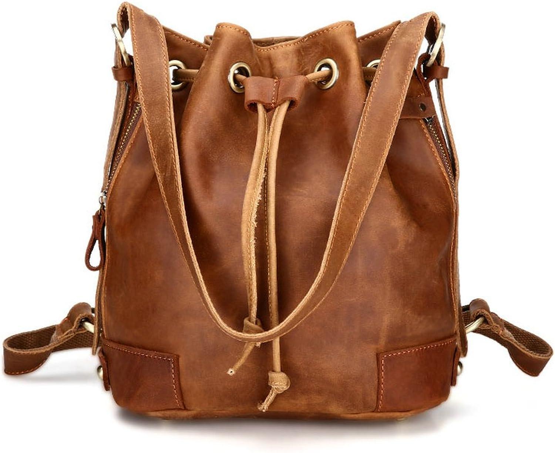 BILLETERA Genuine Cowhide Large Drawstring Handbag Bucket Tote Shoulder Bag