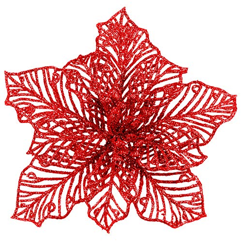 24 Pcs Christmas Red Glitter Mesh Holly Leaf Artificial Poinsettia Flowers Stems Tree Ornaments 6.6' W for Red Christmas Tree Wreath Garland Gift Floral Winter Wedding Holiday Decoration