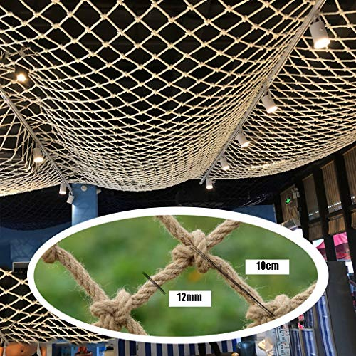 Safe Net Balcony Stair Protection Anti-fall Net Net Decoration for Party,Hemp Rope Net Ceiling Decoration,Natural Jute Material,for Party Festival Balcony Garden,12mm/10cm,Multiple Sizes