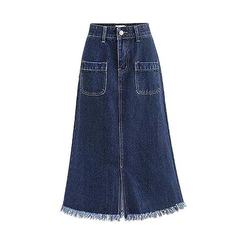 34fc9505f40 Women s High Waist A Line Denim Skirt Split Fringe Hem Midi Jean Skirt