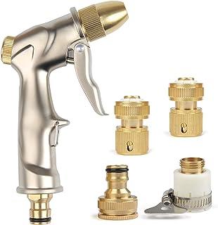 TIMESETL Pistola rociadora de Manguera de jardín Alta presión con Boquilla de Bronce Completa rociador Manual para Lavar/r...