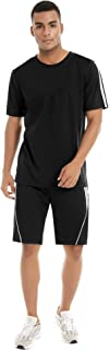 Men's Tracksuit Short Sleeve Running Jogging Athletic Sports T-Shirts and Shorts Suit Set