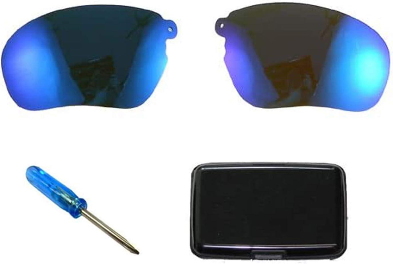 WONFAST 1pcs Replacement Sunglassess Lenses Lens for Wireless Bluetooth Sunglasses Headset Headphones + 1pcs Aluminum Credit Card Holder Wallet Case for Men & Women(Random Color) (Pair Lens-Blue)