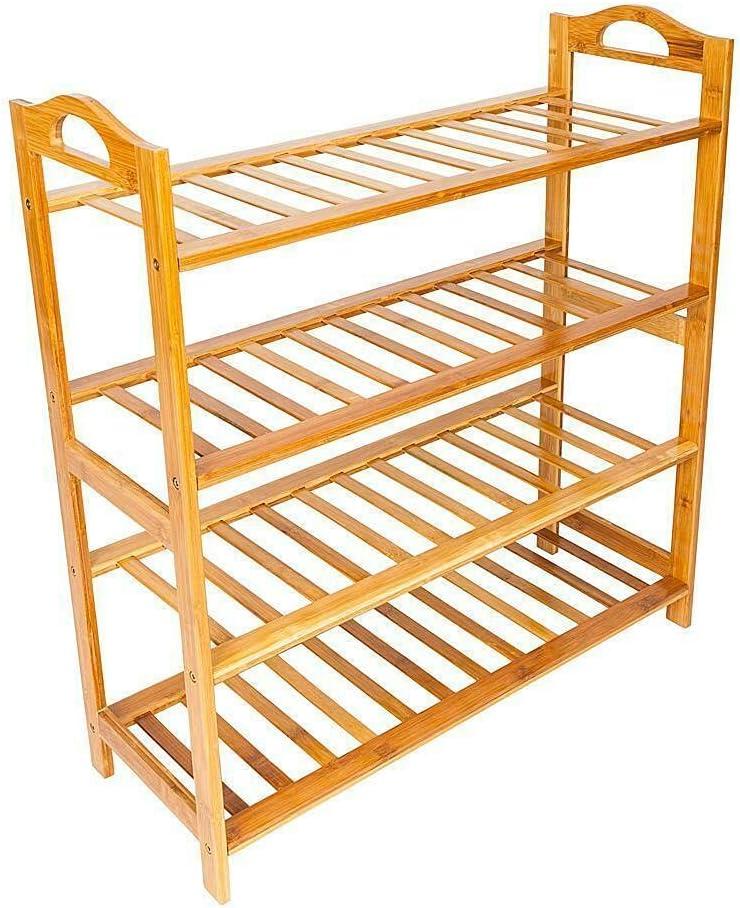 4 Tier Over item handling Stand Bamboo Storage Shoes Enterway Trust Indoor Home Organizer