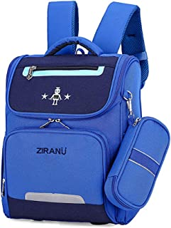 6-12 Years Old Children Large-Capacity Schoolbag, Waterproof Breathable Reduce Burden Backpack, Boys Girls Nylon School Bag with Pencil Bag,B