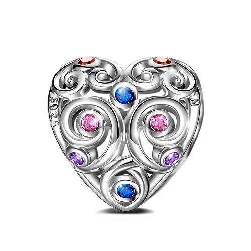 8ff7e7722218 NINAQUEEN Corazón Abalorios Charms para Mujer Amor Eterno