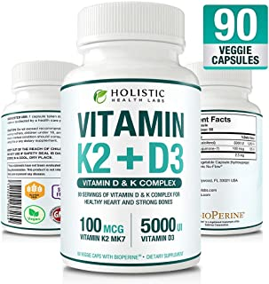 Max Absorption Vitamin K2 + D3 90 Veggie Capsules from MK-7 (Menaquinone-7) and Cholecalciferol (with BioPerine) 3-Months Supply – D3 with K2 for Healthy Heart and Strong Bones | Non-GMO