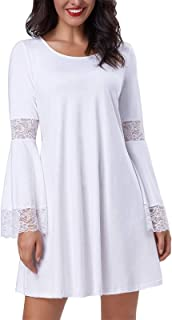 Women's Casual Round Neck Loose A Line Tunic Dress Long Bell Sleeves