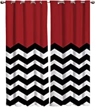 T&H Home Red White Black Chevron Curtains, Blackout Curtain Silver Grommet Zig Zag Patterned Fabric 2 Panels Set, Darkening Draperies & Curtains for Living Room 54