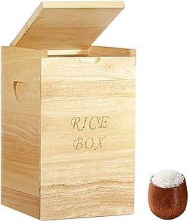 LXYYSG Distributeur de Riz, Boîte de Rangement Céréales Container en Bois, Boîte de Conservation Alimentaire pour Riz-Céré...