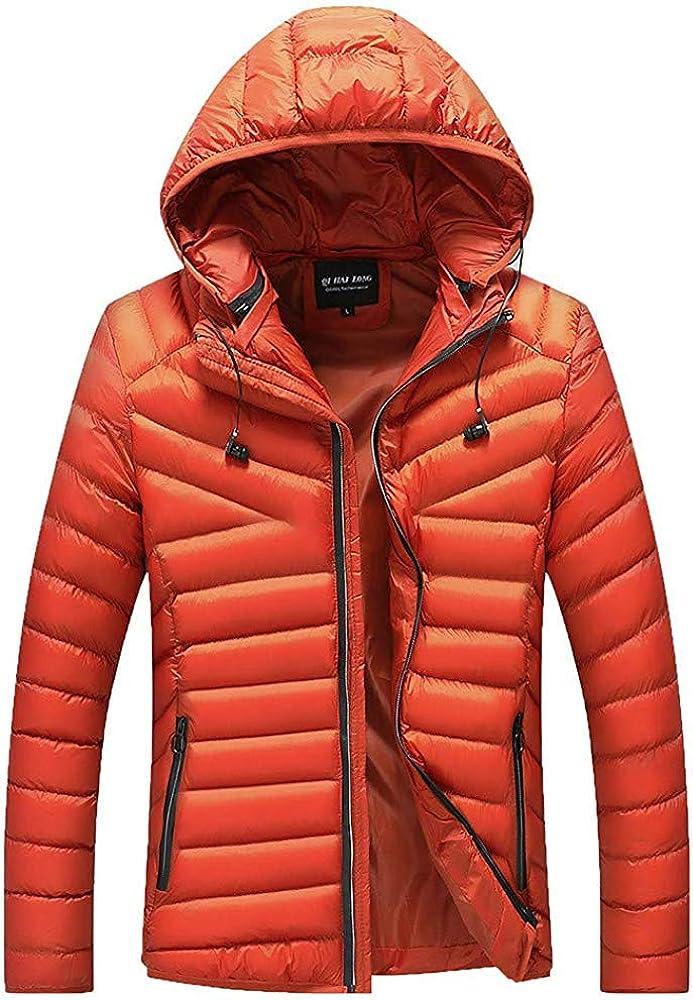 Berrykey Casual Men's Lightweight Down Jacket Solid Slim Zipper Caps Coat Overcoat Outwear