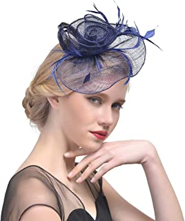 Xfounder Bride Mesh Hat Top Hat Feather Flower Fascinator Wedding Hair Accessory Hair Clip Hat Bridal Topper