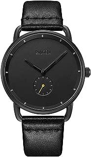 Mens Watch Ultra Thin Wrist Watches Casual Minimalist Waterproof Quartz Analog Wrist Watches for Men Dress Leather Strap