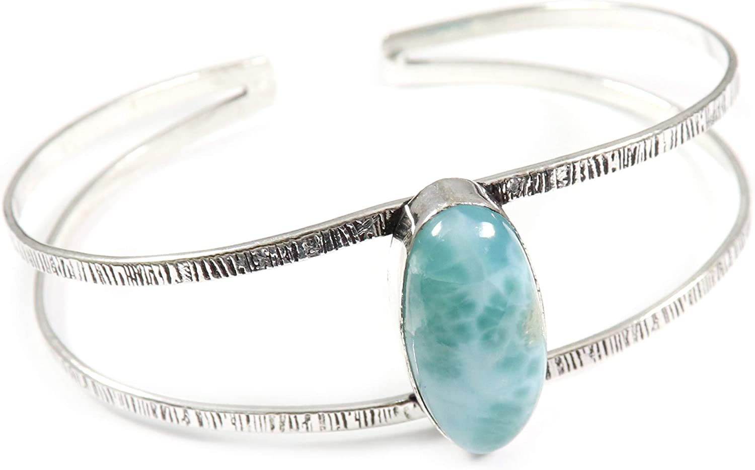 GoyalCrafts Max 77% OFF Larimar Cuff Bracelet Natural Silver Jewelry Max 65% OFF Plated