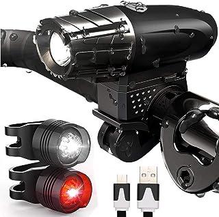 Luz Bicicleta USB Recargable, LED Luces Bicicleta Delantera y Trasera, IPX5 Resistente con 4 Modes, Super Brillante Faros ...