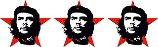 Etaia   3X Mini   5x5 cm   Auto Aufkleber Che Guevara roter Stern Revolution in Kuba Miniatur Sticker Motorrad Bike Fahrrad