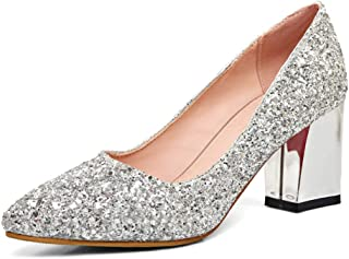 Dress First Women's Pointed Toe Pumps Chunky Heel Shoes Closed Glitter Mid Heel Wedding Pumps
