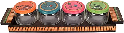 Aakriti Art Creations Glass Jars for Dry Fruits with Multicolor Lid & Base Tray (Set of 4)