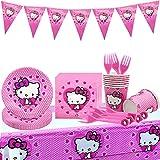 Tomicy Theme Juego de vajilla de fiesta de Hello Kitty 52 piezas de platos de papel de anime para niños, servilletas, tazas para bodas, aniversarios
