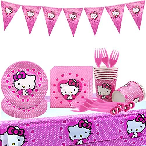 Hello Kitty Party Supplies - Tomicy Theme Hello Kitty Party Stoviglie Set 52 pezzi Bambini anime Piatti di carta, tovaglioli, tazze per matrimonio, anniversario Bambini Compleanno Baby Shower