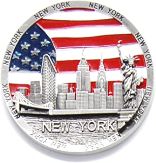 Circle US Flag New York Souvenir Fridge NY Magnet - US Flag,Statue of Liberty,Empire State Building,Brooklyn Bridge,NYC Magnet Metal (Pack 1)