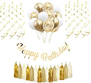 Happy Birthday Decorations,Gold party supplies,Birthday Party Kit Includes Gold Happy Birthday Banner,Metallic Latex Balloons in White and Gold,Confetti Balloons,Gold Hanging Swirls and Tassel Garland