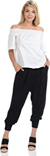 Women's Banded Waist Harem Jogger Pants with Pockets
