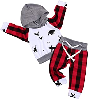 YOUNGER STAR Newborn Infant Baby Boy Girl Clothes Bear Deer Printed Long Sleeve Cotton Hoodie Tops +Red Plaid Pants Outfit Set