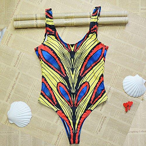 Zooarts - Sexy Estampado Africano Mujeres Bikini Bodysuit bañadores Bañador monikinis Mono Traje de baño Playa, poliéster, Medium