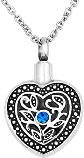 LoEnMe Jewelry Urn Necklace for Ashes Cremation Pendant Love Heart Birthstone Crystal Keepsake for Women Lady
