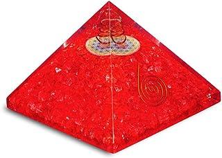 PREK Red Onyx orgone Pyramid with Flower of Life symbolenergy Generator Chakra Balancing Size 2.5-3 inch