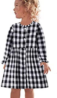 CNKIDS Little Girl Fall Dresses Button Through High Neck Ruffle Check Dress(2-7yrs)