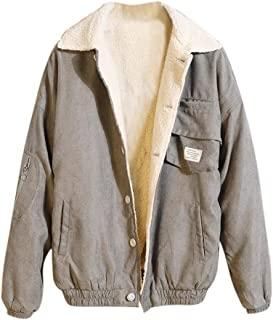 YANYUN Men Jackets Coat Corduroy Button Winter Fall Warm Casual Long Sleeve Slim Fit Fashion Thickened Outwear 4XL Pockets