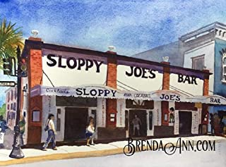 Sloppy Joe's Bar Key West - Fine Art Wall Art Artwork Watercolor Print by Brenda Ann
