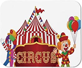 Circus Decor Ordinary Mouse Pad,Circus Tent with Clown Advertisement Event Man Billboard Waving Classic for Computers Laptop Office & Home,15