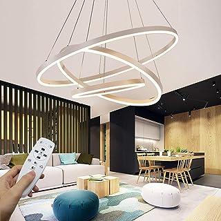 Starryol Suspension LED moderne, collection de 3 anneaux, peinture blanche, réglable, 2700-6500K, avec télécommande - 78 W