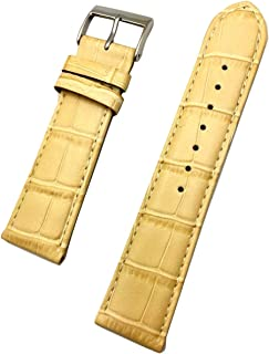 22mm Ivory Beige Genuine Leather Watch Band | Square Alligator Crocodile Grained, Lightly Padded Replacement Wrist Strap That Brings New Life to Any Watch (Mens Standard Length)