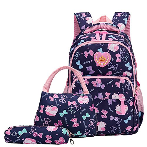 Bansusu Girls Bowknot Cat Prints Preschool Book Bag for Toddler Girls School Backpack Set with Lunch Bag 3 pcs Dark-Blue