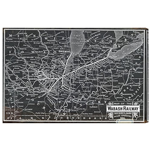 Oliver Gal 'Wabash Railroad Map' Canvas Art, 45' x 30'
