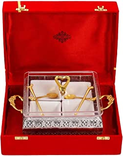 "Indian Art Villa Brass Designer Storage Box Dry Fruit Container 4 Compartments, Gift Item, Home Decore, 7.7"" Inch, Gold"