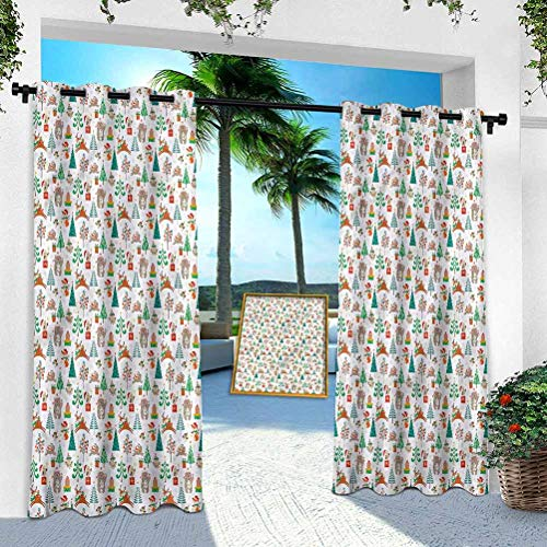 Aishare Store Patio Outdoor Curtain, Christmas,Baby Kids Theme Xmas, W 100' x L 108' Heavy Duty Indoor Panel for Porch Balcony Pergola Canopy Tent Gazebo Window(1 Panel)