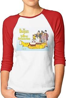 New Trend Girl`s The Beatles Yellow Submarine Women`s Raglan Sleeves Baseball T-Shirts Tee Black