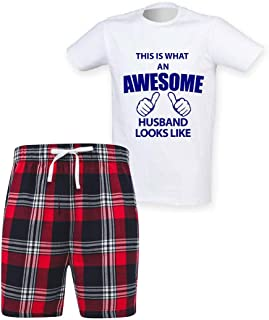 60 Second Makeover Limited Mens This is What an Awesome Husband Looks Like Tartan Short Pyjama Set Family Matching Fathers...
