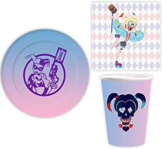 NC Clown Theme Party Supplies Disposable Plate 50 Set, 150pcs Harly Cartoon Pattern Paper Plate Cups and Napkins Set Girl ...