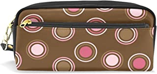 ALAZA Polka Dot Brown Pencil Case Zipper PU Leather Pen Bag Cosmetic Makeup Bag Pen Stationery Pouch Bag Large Capacity