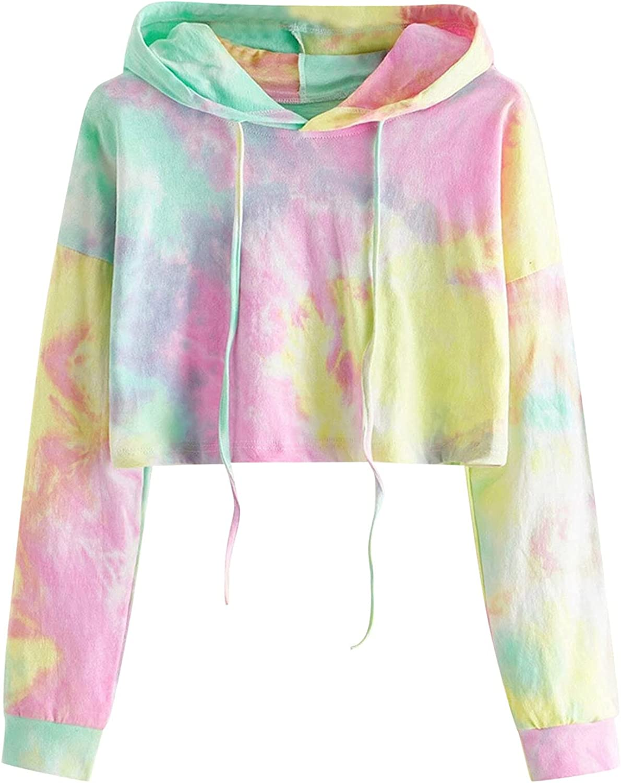 YRAETENM Graphic Sweatshirts for Women Tie Dye Hoodies Long Sleeve Shirts Drawstring Pullover Comfy Soft Loose Blouse