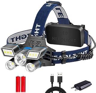 Headlamp Red Blue White Light 9 Modes LED Headlamp L2+ 2*T6 LED Headlight USB Rechargeable Head Light with Tail Warning Li...