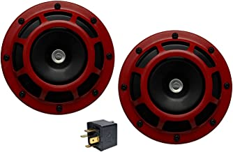 Velocity DUAL Super Tone LOUD Blast 139Db Universal Euro RED ROUND HORNS (Quantity 2) High / Low Tone Twin Horn Kit Pair Compact - Extremely LOUD for Mitsubishi Eclipse GST GT RS Mirage VR4