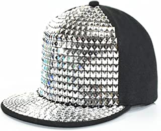 Hat Fashion Children's Baseball Caps Parent-Child Flats Along Hip-hop Hats for Boys and Girls Punk Rivets Hip-hop Performance Caps Fashion Accessories (Color : Silver)