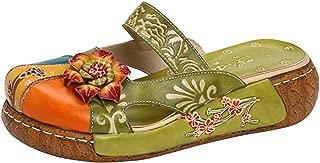 Mordenmiss Women's Colorful Backless Slippers Flowers Leather Vintage Boho Platform Flat Sandals